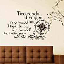Robert Frost Wall Decal Road Less Traveled Adventure Vinyl Wall Art For Bedroom Living Room (Brown,l)