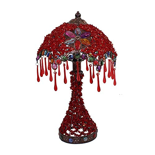 Retro Metal Iron Table Lamp for Living Room Bedroom Study Cafe Lighting - DIY Hand-Beaded Decoration Bedside Lamp with Plexiglass Shade (Color : Red) (Beaded Table Red Shade Lamp)