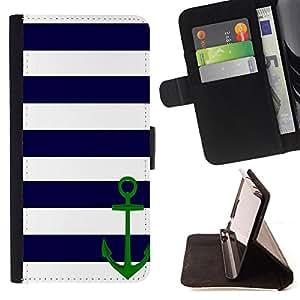 Super Marley Shop - Funda de piel cubierta de la carpeta Foilo con cierre magn¨¦tico FOR Samsung Galaxy S5 V SM-G900 G9009 G9008V- Anchor Boat Pattern