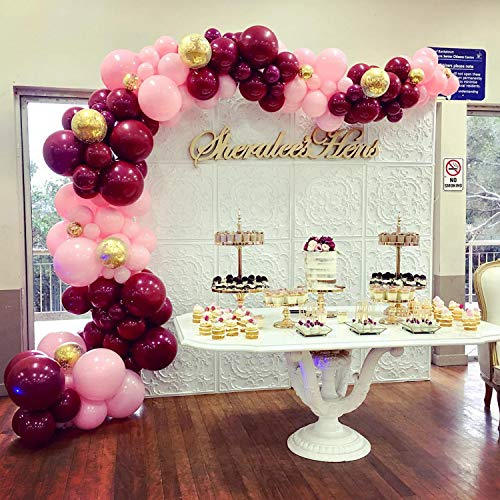 PartyWoo Pink Gold and Burgundy Balloons 70 pcs 12 inch Burgundy Balloons Baby Pink Balloons Gold Confetti Balloons Burgundy and Gold Party Decorations, Burgundy and Gold Wedding Decorations]()