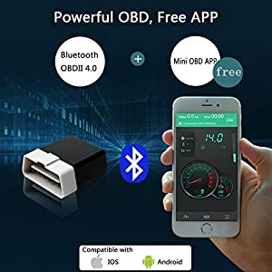 OBD2 OBD 2 Car Code Reader Bluetooth 4.0 Wireless Scan Tool Auto Diagnostic Car Code Scanner display by iOS & Android Smartphone For Audi, BMW, Lexus, Toyota & VW et al. by Kinnara[FREE APP] (Black)