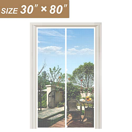 White Fiberglass Magnetic Screen Door 30 x 80, Heavy Duty for Home Apartment Door Size 30
