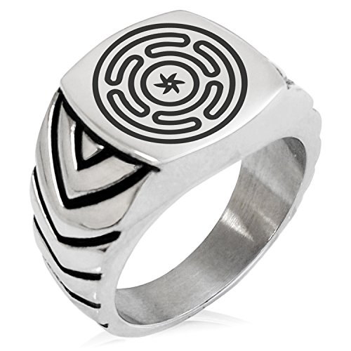 Two-Tone Stainless Steel Hecate Greek Goddess of Magic Engraved Chevron Pattern Biker Style Polished Ring, Size 12
