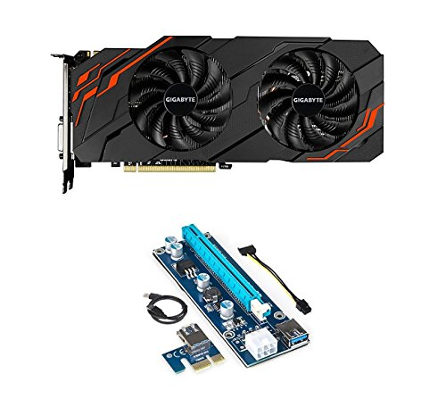 Gigabyte GeForce GTX 1070 WINDFORCE OC 8GB REV2.0 Graphic Card and PCI-E Riser for ETH Etheruem ZEC Zcash XMR Monero Cryptocurrency Mining