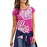 Londony Women's Short Sleeve Letter Printed Tee Tops Casual T-Shirt Summer Street Printed Tops Funny Juniors Tees