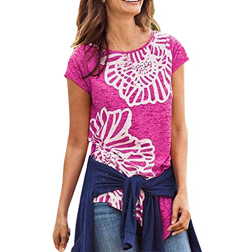 LIM&Shop Women Summer Short Sleeve T-Shirt Floral Print Shirt Plus Size Loose Blouse Crew Neck Tee Comfy Tunic Top Hot Pink -