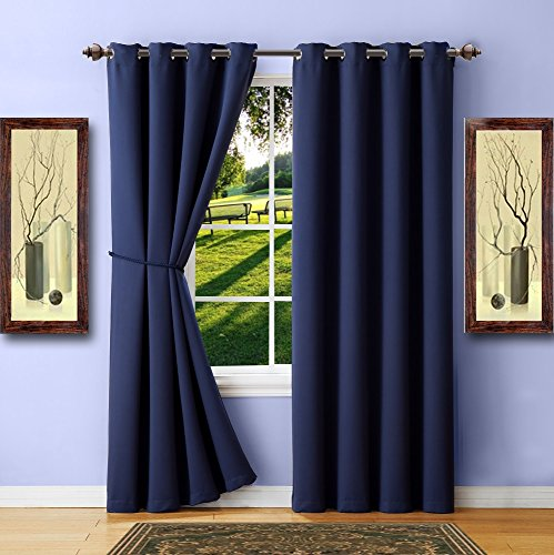 Panel of Navy Blue Blackout Curtains with Grommets. Long Size Insulated Thermal Window Panel Is 54