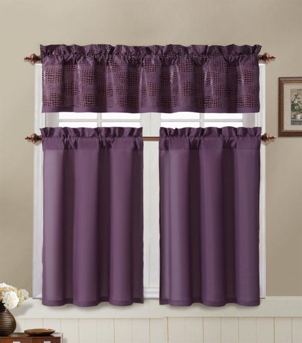 Amazon.com: Purple And Brown Kitchen Window Curtain Set : 2 Tier Panel  Curtain, 1 Alligator Print Valance: Home U0026 Kitchen