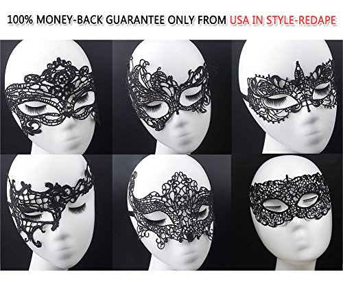 Redape 6 Pack Sexy Venetian Masquerade Lace Eye Mask, Black (Halloween Bunny Makeup)