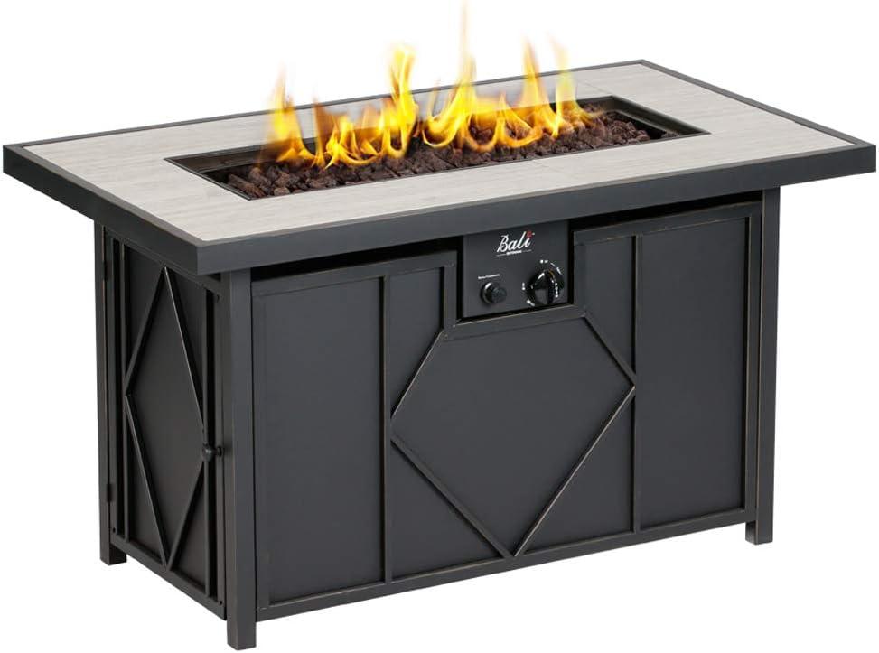BALI OUTDOORS Outdoor Black 42 inch 60,000 BTU Rectangular Gas Table, Propane Fire Pits