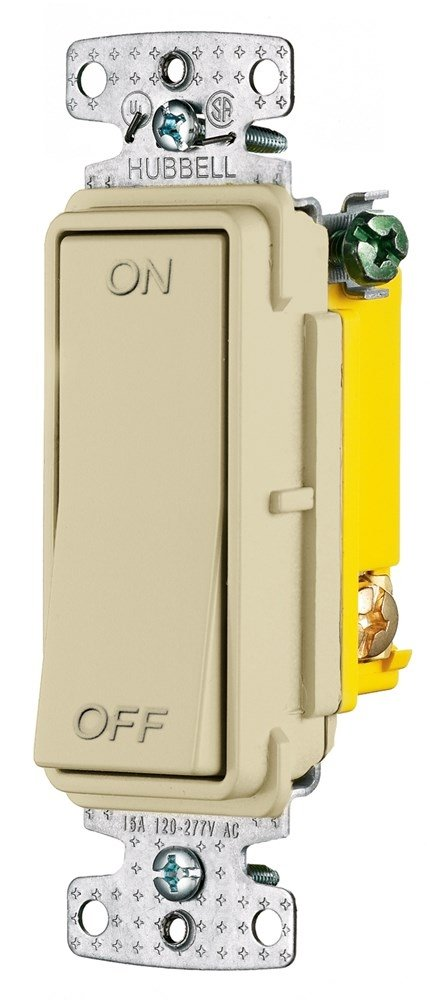 Ivory 120-277V AC 15A Hubbell Wiring Systems RSD115IM tradeSELECT Single Pole Decorator Quiet Rocker Switch with ON//Off Marking