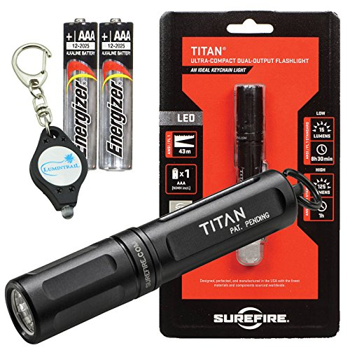 Surefire Titan-A Ultra-Compact Dual-Output LED Flashlight 125 lumens w/2 Extra Energizer AAA Batteries and Lumintrail Keychain Light (Surefire Mini)