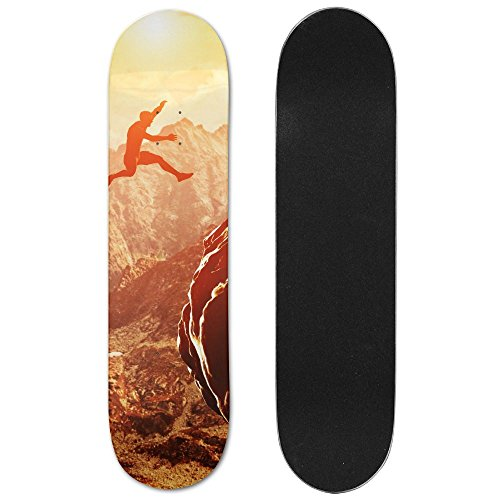 Man Jumping Over Precipice Between Two Rocky Mountains At Sunset Freedom, Risk, Challenge, Success Vogue Double Warped Skateboard Deluxe Longboard Skate Boards by ZCXN