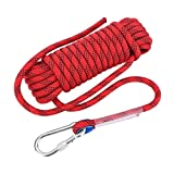 Climbing Rope, Outdoor Climbing Survival Escape Rope High Strength Cord Safety Rope with Sewed Buckle and Carabiner