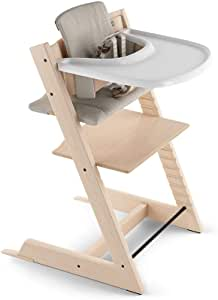 Stokke Tripp Trapp paquete completo, Natural Chair/Timeless Grey Cushion/White Tray, New Harness