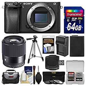 Sony Alpha A6300 4K Wi-Fi Digital Camera Body with Sigma 30mm f/1.4 Lens + 64GB Card + Case + Battery & Charger + Tripod + Filters Kit