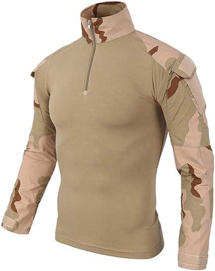Gran promoción! Táctica para Hombres Camuflaje Musculoso de Manga Larga Blusa básica sólida Camiseta Top de Internet.: Amazon.es: Ropa y accesorios
