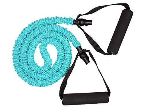 ATHLYFUN Resistance Tube with Fabric Shield, Foam Coated Handles, Exercise Cord, for Pilates, Workout, Strength Training (cyan)