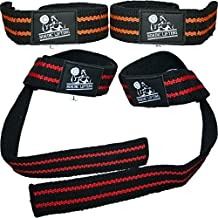 Lifting Straps (2 Pairs/4 Straps) for Weightlifting/Cross Training/Workout/Gym/Powerlifting/Bodybuilding-Support For Women & Men - Premium Quality Equipment & Accessories -Avoid Injury-1 Year Warranty