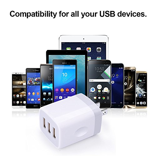 50%OFF USB Wall Charger,Sicodo 3-Port Travel iPhone Quick