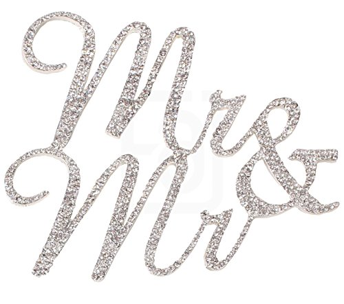 Mr&Mr, Gay Marriage, Wedding Vows and Anniversary Cake Topper, Crystal Rhinestones on Silver Metal, Party Decorations, (Couples To Be For Halloween)