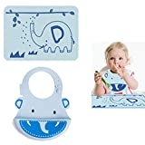 INCHANT Cartoon Animal Waterproof Soft Silicone Placemat and Bib Set For Baby Toddlers, Children Comfortable Roll Up Lunch Bibs Food Catcher Pocket Matched Keep stains Off Table Mat,BPA-free,Reusable