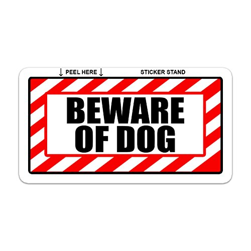 Beware of dog sign alert warning set of 2 window business stickers