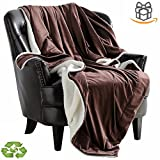 Blanket Throw Fleece Reversible Soft Warm Sherpa Throws For Bed Covers Oversized Plush Comfort Microfiber Velvet Blankets, 60x80 Inch Brown