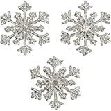 Expo International Christmas Small Branch Snowflake Iron-on Applique Trim Embellishment, Silver, 3-Pack