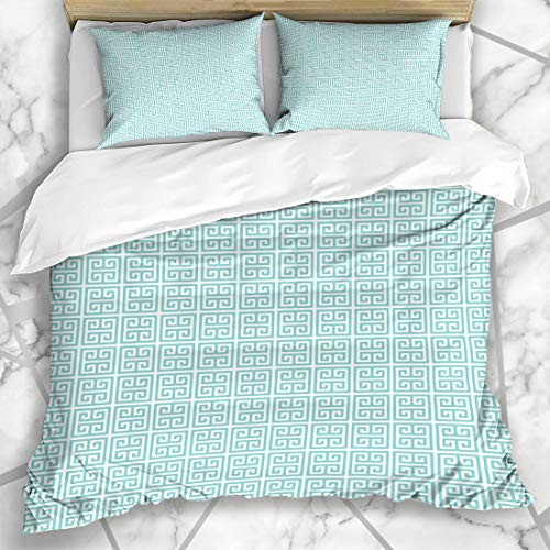 Ahawoso Duvet Cover Sets Queen/Full 90x90 Teal Aqua White Greek Key Pattern On Turquoise Abstract Blue Digital Rings Design Microfiber Bedding with 2 Pillow Shams
