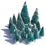 Mini Snow Globe Christmas Trees Tabletop Fake Bottle Brush Pine Trees Decor Craft Xmas Village Flocked Trees Party Decoration DIY Accessories Up to 4-7/8'' Bluish Green16PCS with White Plastic Base