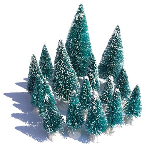 (Mini Snow Globe Christmas Trees Tabletop Fake Bottle Brush Pine Trees Decor Craft Xmas Village Flocked Trees Party Decoration DIY Accessories Up to 4-7/8'' Bluish Green16PCS with White Plastic Base)