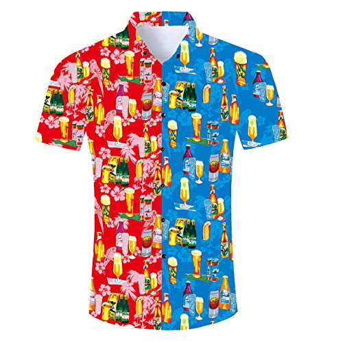 Fanient Mens Hawaii 3D Printed Short Sleeve Causal Beach Button Down Dress Shirt for Teens Boys Plus Size
