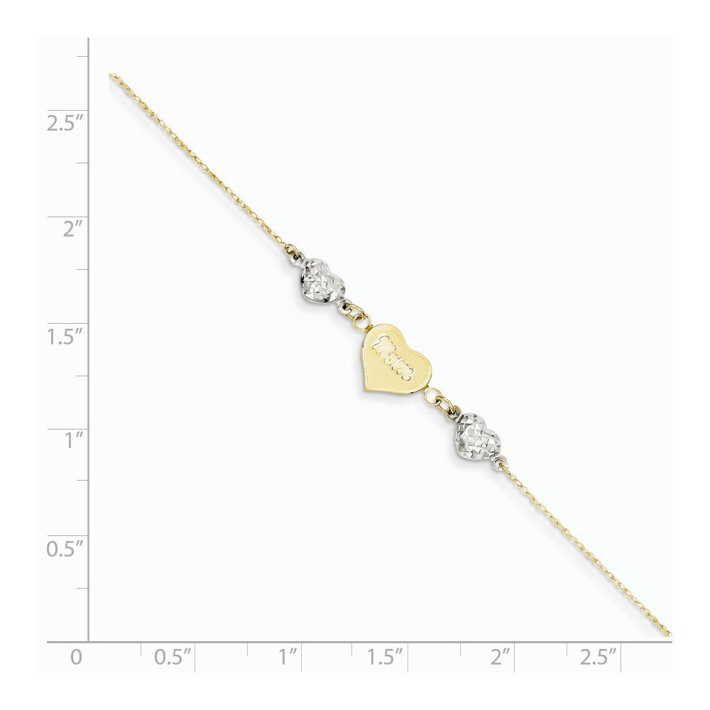ICE CARATS 14k Two Tone Yellow Gold Hearts Mom 1 Inch Adjustable Chain Plus Size Extender Anklet Ankle Beach Bracelet Fine Jewelry Gift Set For Women Heart by ICE CARATS (Image #6)