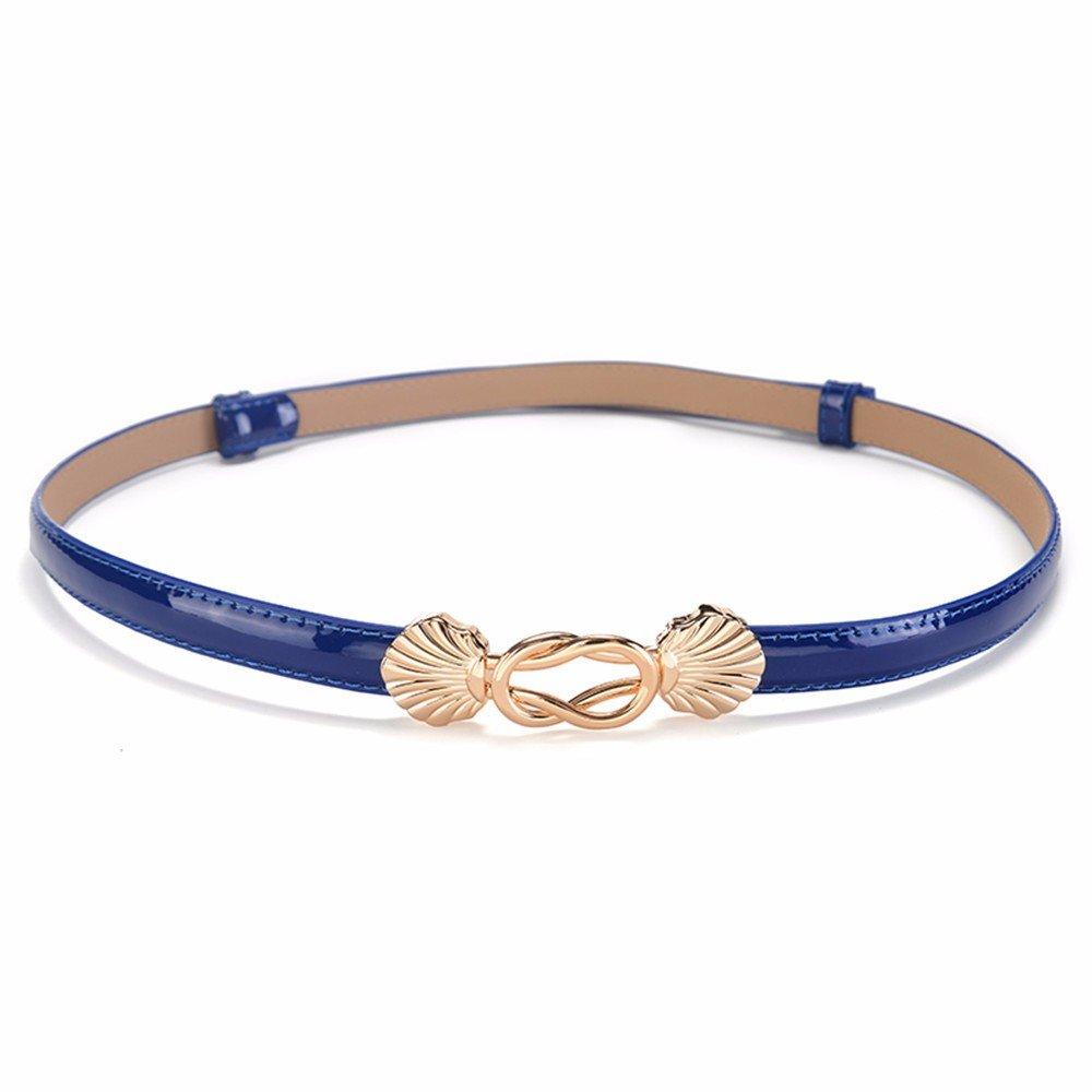 SAIBANGZI Ms Women All Seasons Belt Leather Trim Fine Women'S Belts Fashion Sweet Girlfriend Present Blue 96Cm