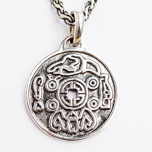(Lucky Coin Sterling Silver 925 Chinese Necklace for Men Women Good Luck Pendant Feng Shui Charm)