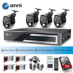 ANNI 1080N HD Indoor Home Security Camera System CCTV Video Monitoring with 1TB HDD, 8-Channel 1080N Digital Video Recorder, 4 x 1080p Cameras: 3 x PIR Sensor Camera, 1 x Siren Alarm Camera