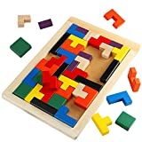 Toyssa Wooden Tetris Puzzles Brain Teaser Preschool Educational Toy Board Games for Kids 40 Pieces