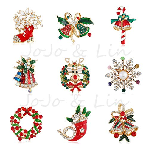 JoJo & Lin Christmas Brooch Pin Set for Family - Pack of 9pcs Cute Crystal Christmas Brooch Pin for Festival Gift Party Decoration Ornaments Gifts Christmas Pins Decoration