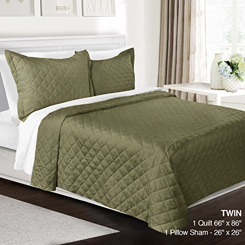 3 Piece Quilt Set Twin Size By Clara Clark - Luxury Bedspread Coverlet Soft All Season Microfiber - Machine Washable - Comes in Many Colors - set includes Quilt & Shams (Bed Set Comforter Elite)
