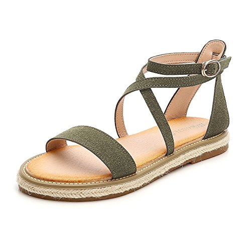 an Style Gladiator Sandals Ankle Strap Espadrilles Side Summer Flats Shoes Green-01 US 7 ()