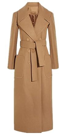 Foluton Damen Wintermantel Herbst Elegant Mode Zweireihiger Wollmantel Maxi  Lang Trenchcoat Cardigan Schlank Revers Parka Coat Outwear Mit Gürtel 4510453aae