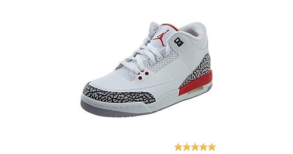 Air Jordan 3 Retro Katrina Big Kids 398614-116 White Red Cement Shoes Size 6