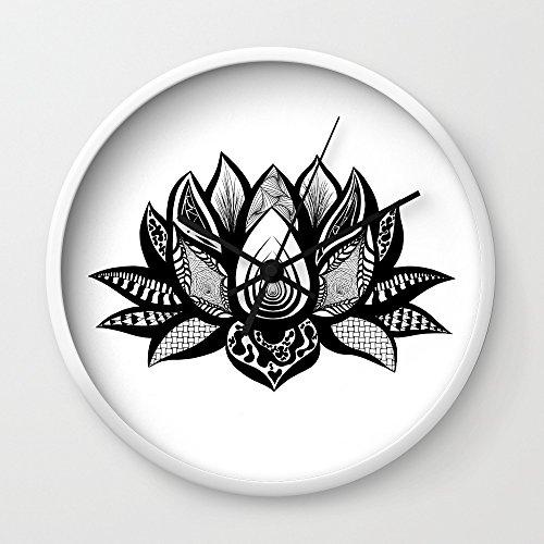Society6 Ornate Lotus Wall Clock White Frame, Black Hands