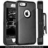 6 plus iphone protective case - FOGEEK iPhone 6S Plus Case, PC TPU Combo Protective Case Heavy Duty Protective for iPhone 6 Plus & iPhone 6S Plus w/360 Degree Rotary Belt Clip & Kickstand 5.5 inch(Black)