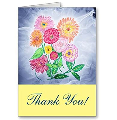 Zinnia Flower Thank You Cards - Note Card Value Pack Set of Blank Inside All Occasion Foldover Notes with Envelopes