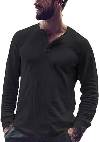 ALISIAM Otoño e Invierno Tops Moda Camisa Casual Hombre Blusa Suelta Casual Transpirable Top de Manga Larga Camisas Sin Cuello de Color Sólido Blusas de Trabajo: Amazon.es: Ropa y accesorios