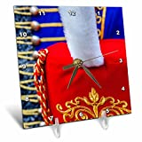 3dRose Alexis Photography - Objects - Red busby hat with white plume against the blue pelisse - 6x6 Desk Clock (dc_273240_1)