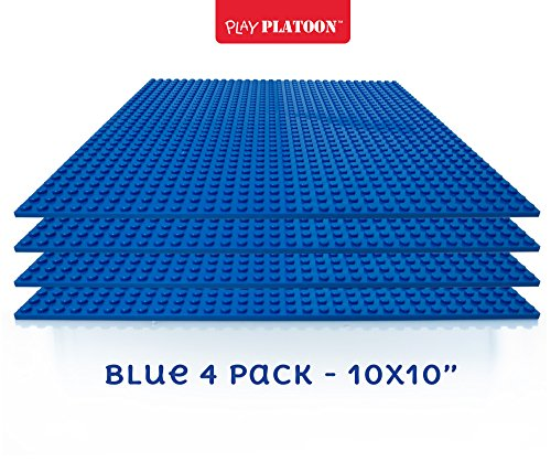 Building Bricks - 10 x 10 Inch Blue Stackable Baseplate (4 Pack) Classic Baseplates Compatible with All Major - Blue Lego Plate Building