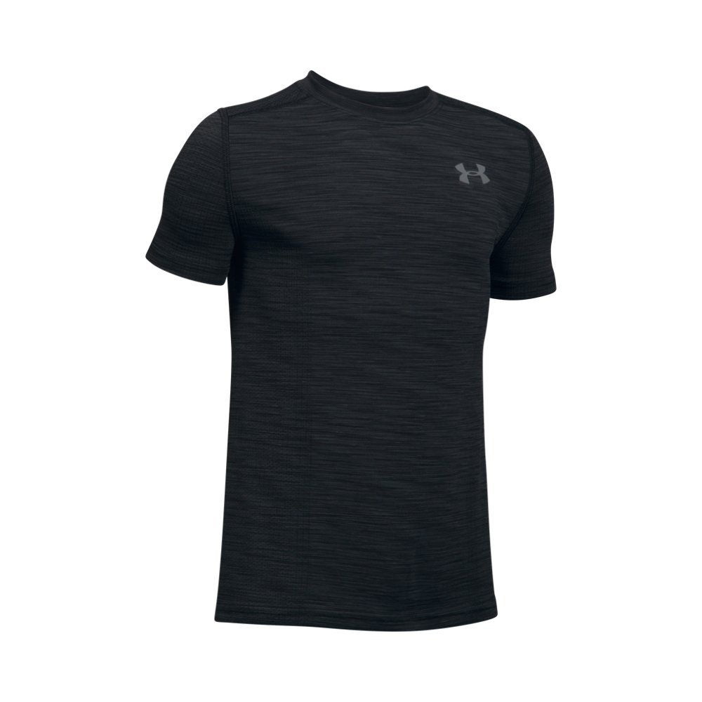 Under Armour Boys' Threadborne Knit SS,Black /Graphite, Youth Small
